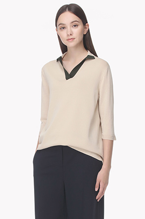 Color line open polo knit top