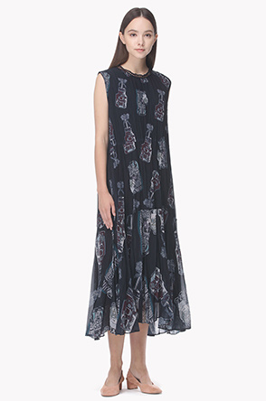 Crinkle pleat print long dress
