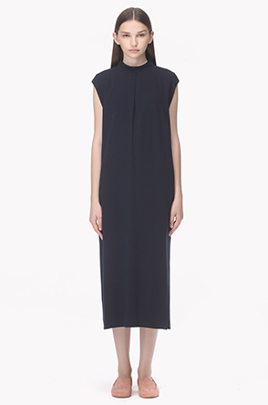 Front pleat neck cap sleeves dress