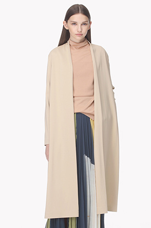 Collarless open long jacket