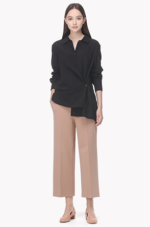 Stretch straight crop pants