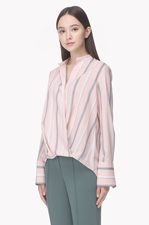 Wrap front silky stripe shirt
