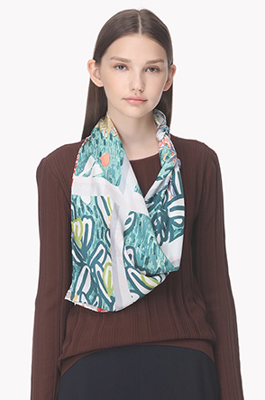 Illustration printed silk scarf