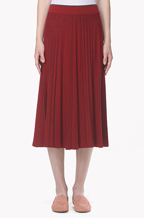 Glitter stripe pattern banding pleats skirt