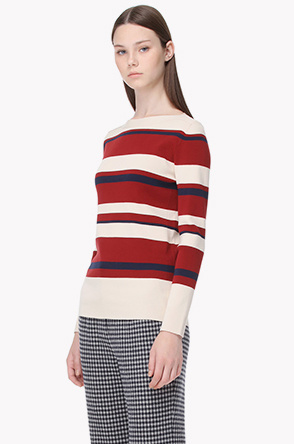 Wool blend multi color stripe knit