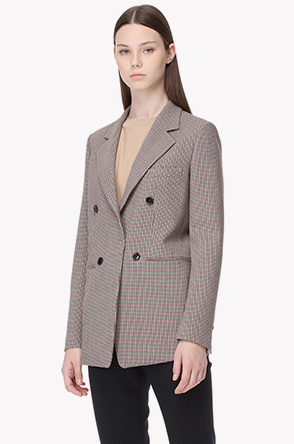 Wool blend houndstooth check jacket