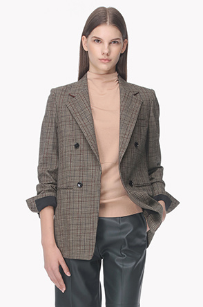 4 Buttoned tailored check jacket
