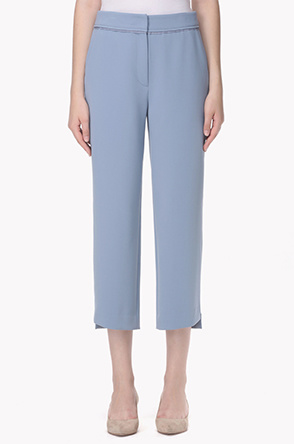 Diagonal step hem crop pants