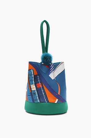 Printed fabric bucket bag
