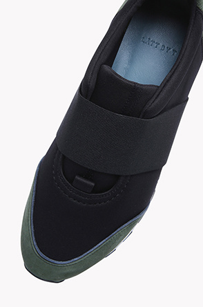 Suede banding slip on sneakers