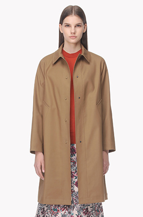 Front snap button long jacket