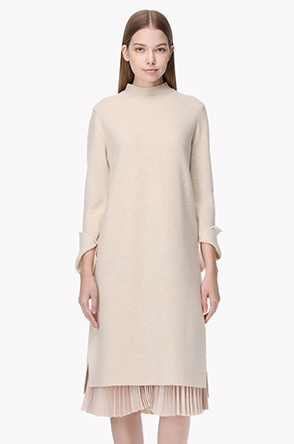 Accordian pleats layered mock neck knit dress