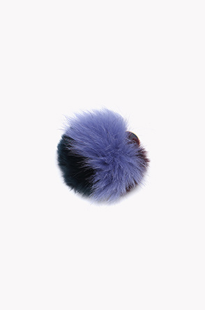 Multi color rabbit and fox fur brooch