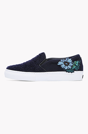 Floral and lettering embroidery slip on
