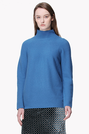 Funnel neck cashmere knit sweater