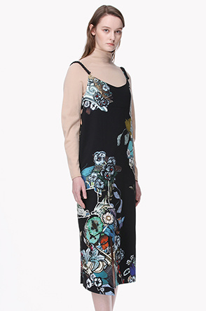 Beads shoulder strap flower dress