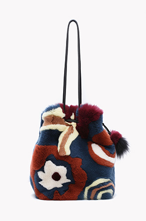 Floral point rabbit fur bucket bag