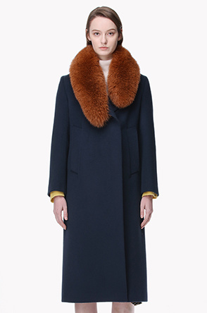 Lambswool blend fox fur collar coat