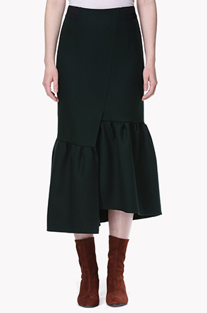 Unbalance shirring hem skirt
