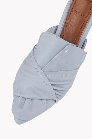 Lamb leather ribbon mule shoes