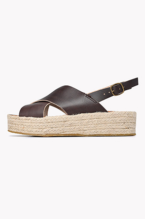 Espadrille leather X strap flatform sandals