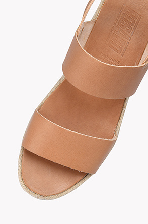 Espadrille leather strap flatform sandals