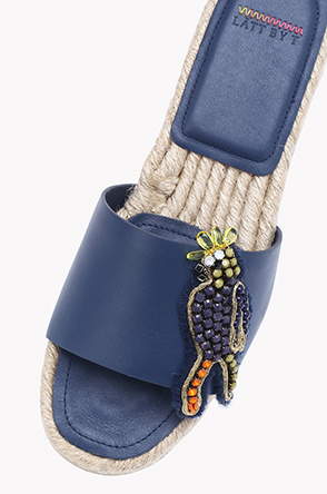 Beads espadrille leather slippers