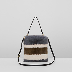 [ELCOM] Color block fur bag