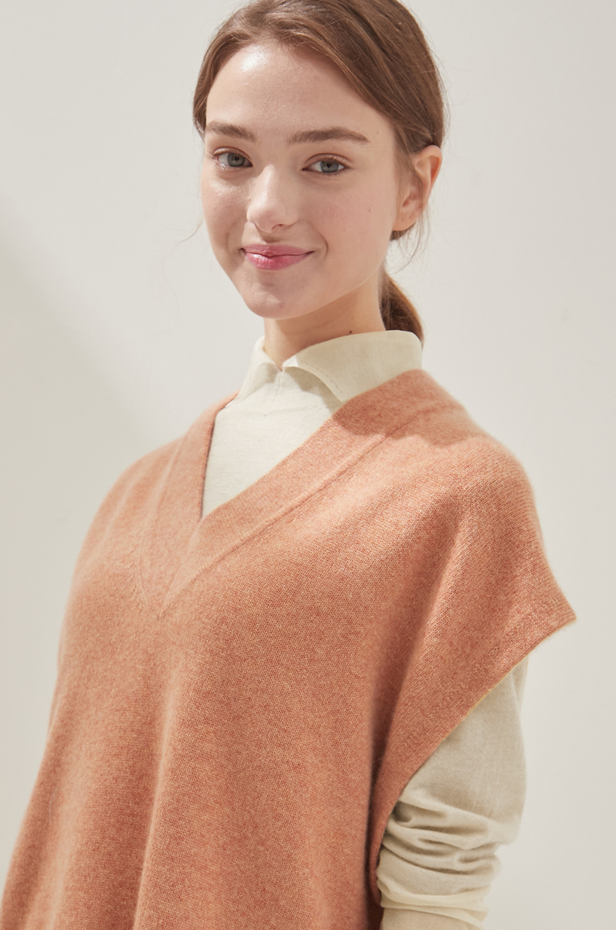 [CLASSY LUX] Cashmere knit top & scarf