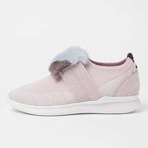 Fur block knit slip-ons