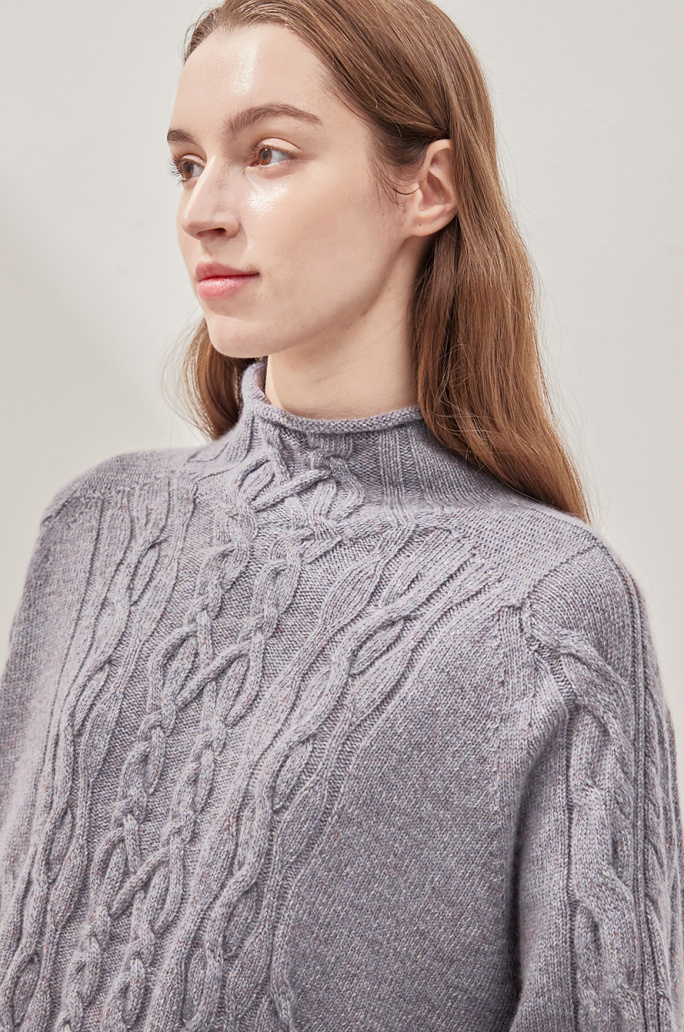 [CLASSY LUX] High neck knit sweater