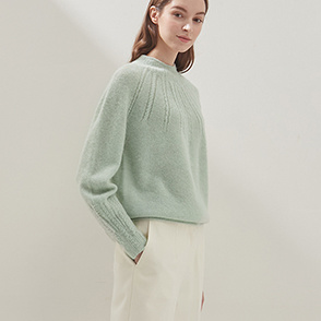 Rib knit block sweater