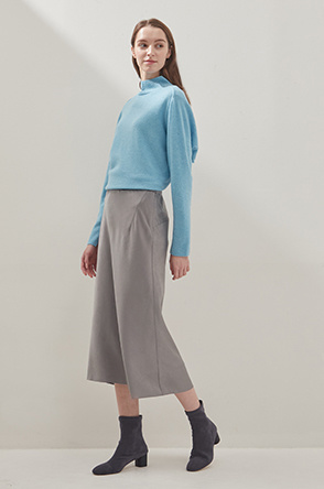 Unbalanced satin skirt