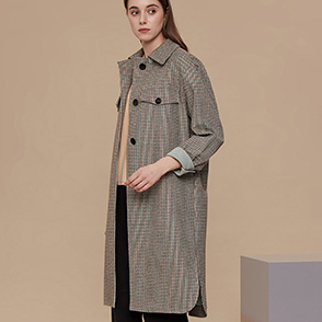 Silk blend check coat