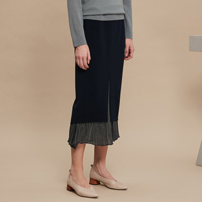 Pleats block skirt