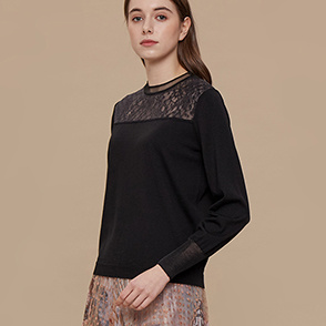 Lace block knit top