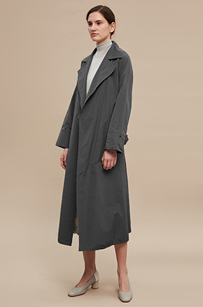 Belted open trench coat