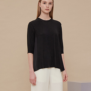 Texture block wool knit top