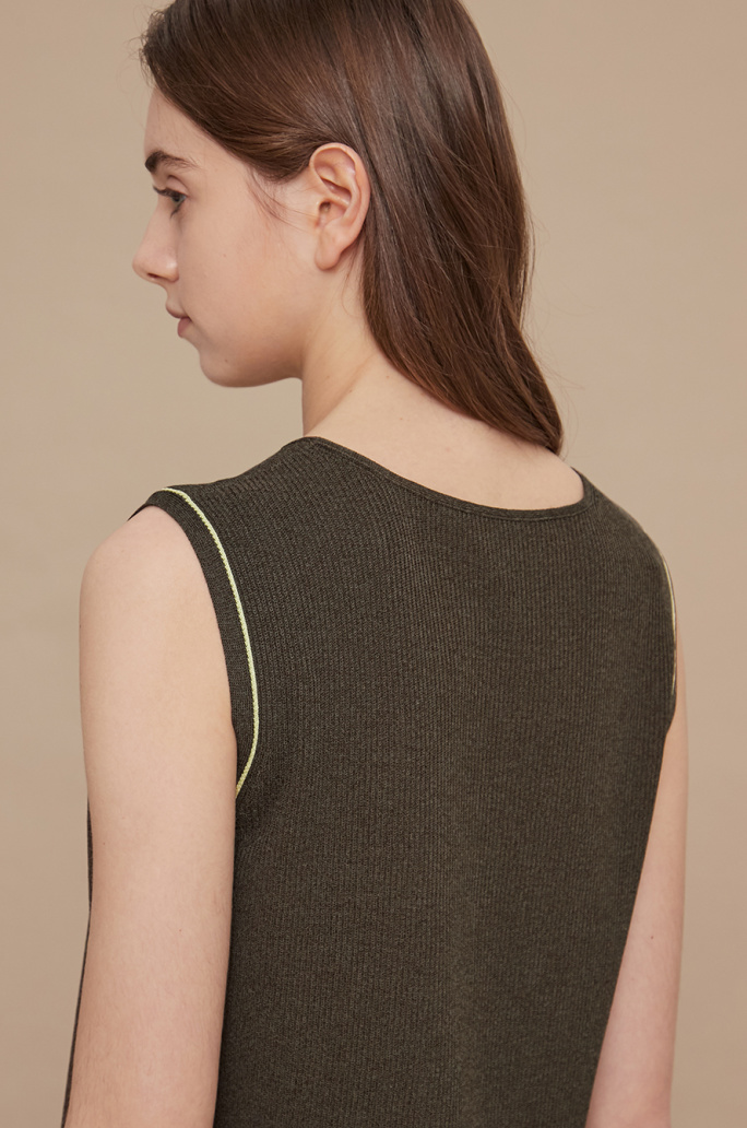 Color line knit vest