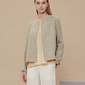 Linen blend tweed open jacket