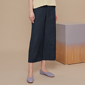 Wool blend wide crop pants