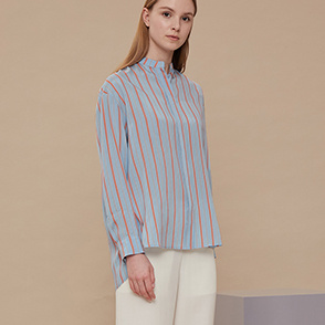 Unbalanced hem stripe shirt
