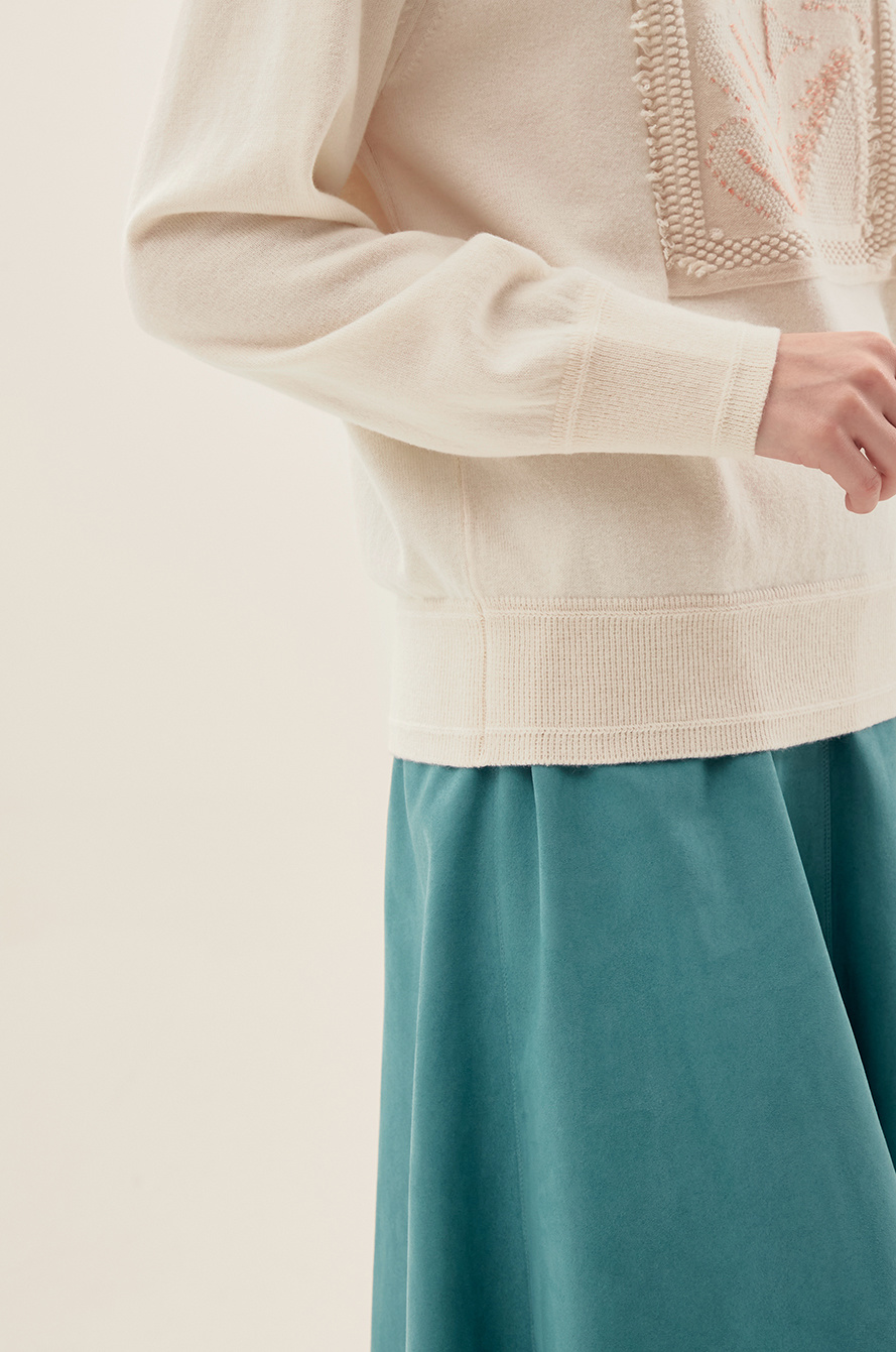 Embossed Frayed Knit Sweater
