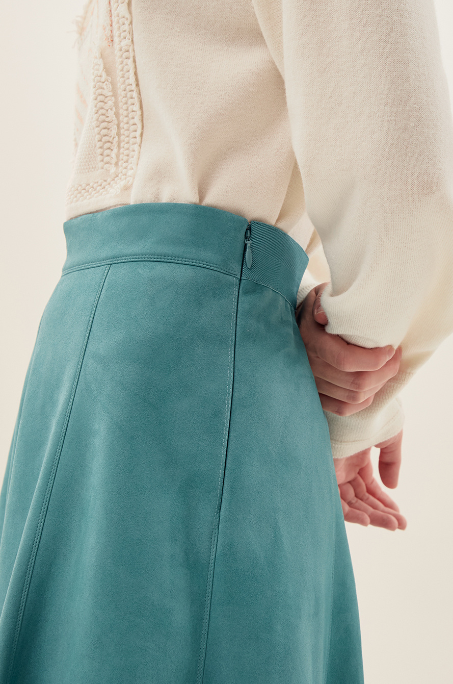 suede flared skirt