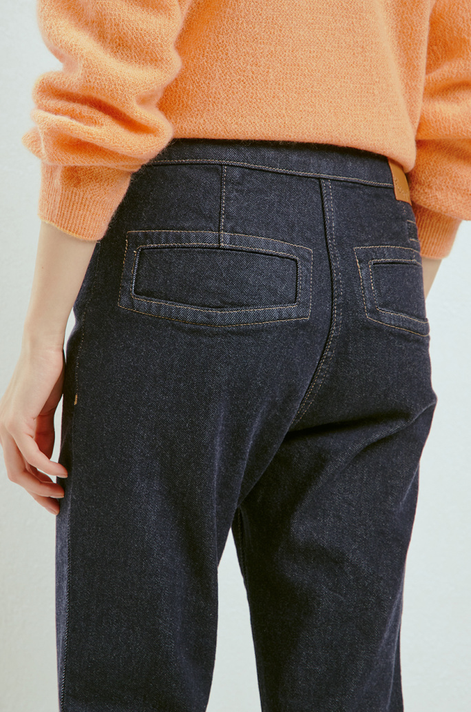 Turn-up denim pants