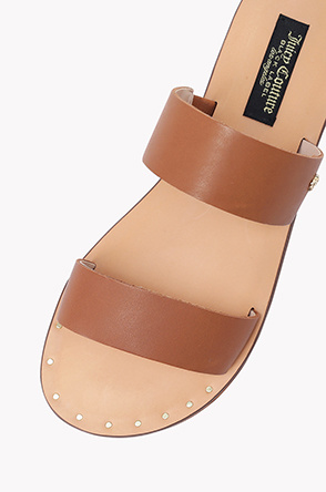 Leather double strap sandals