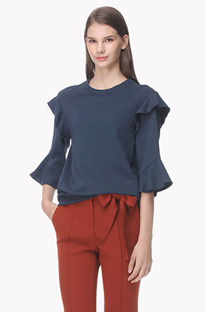 3/4 Ruffle sleeve zipper T shirt