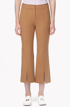 Front slit flared crop pants