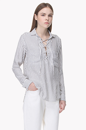 Lace up stripe shirt top