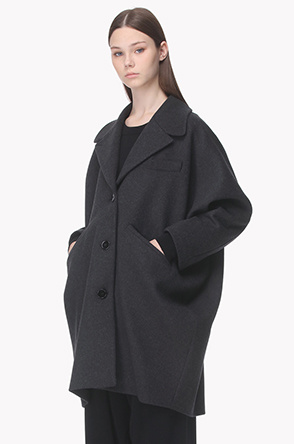 Wool blend box silhouette coat